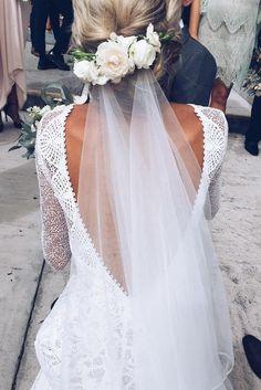 wedding hairstyles with veil | Chignon with hair piece and veil , Boho wedding dress + bridal veil #weddingveils #bridalveil #weddinghairstylesboho #weddinghairstyleswithveil