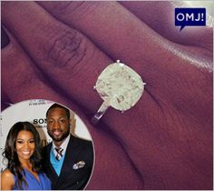 Just look at that stunner! Congratulations are in order for actress Gabrielle Union and NBA star Dwyane Wade. The sparkler is an 8.5 carat, 4-prong, cushion cut engagement ring designed by celebrity jeweler Jason of Beverly Hills. - See more at: blog.jic.org/...
