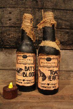 "Halloween Decorations Potion Bottles Halloween Potion Bottle Set ""bat Wings"" & ""leg Of Lizard"