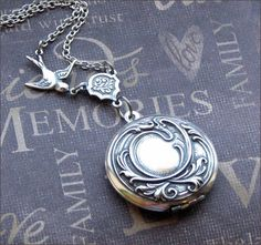A personal favorite from my Etsy shop https://www.etsy.com/listing/62902531/silver-locket-necklace-enchanted