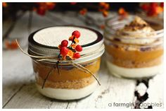 layered pumpkin pie in a jar. my husband made this for us the other day and it was amazing!
