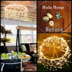 DIY hula hoop light. Extra pretty with tulle and ribbon connecting it to the ceiling!