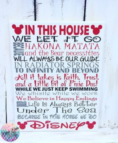 We Do Disney In This House Rules Sign Frozen by OliviaQuinnCouture