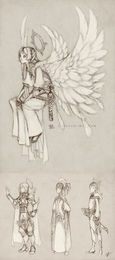 Orias Sketches and Costumes by sambees on deviantART  Everything here is drawn so beautifully with such lovely details!!