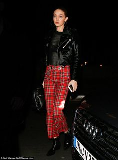 Plaid to the bone! Gigi Hadid, 21, looked sensational as she celebrated the end of Paris Fashion Week by heading to the V Magazine dinner party at La Perouse restaurant in the French capital