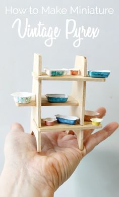 how to make miniature vintage dollhouse Pyrex- you won't believe what is used to make these, it's not polymer clay!  Includes FREE downloadable Pyrex patterns you can use to decorate your little Pyrex dishes