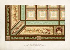 The Prints Collector :: Antique Print-DECORATION-ORNAMENT-19TH C-2-ENAMELLED IRON-CEILING-Allen-1890