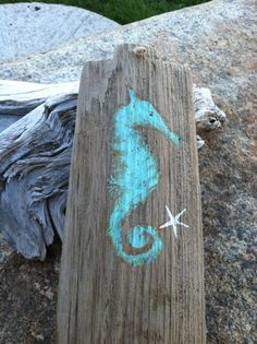 Reclaimed Driftwood  Seahorse Sign from Maine by MaineCoastCottage, $39.99