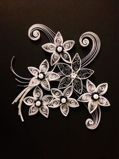 Quilling white on black