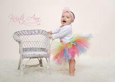 Baby First Birthday Girl - like the pastel colors (but still not just pink!)