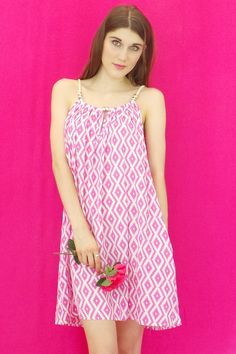 Dress Rope Bead in Hot Pink and White Print $49.99