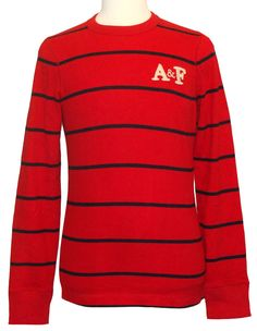 Abercrombie & Fitch Mens Shirt HOPKINS TRAIL Long Sleeve Crewneck Red S NEW $50 #AbercrombieFitch #BasicTee