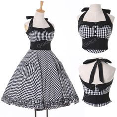 Buy Grace Karin Vintage Ball Cocktail Evening Prom Rockabilly Swing Party Cotton Halter Dress Size XS~XL at Wish - Shopping Made Fun Pin Up Vintage, Vintage Mode, Vintage Style, Retro Vintage, Retro Style, Vintage Sailor, Vintage Prom, Casual Party Dresses, Party Dresses For Women