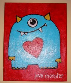 Love Monster Nursery Painting... Love this idea I'm going to paint lots of little monsters!