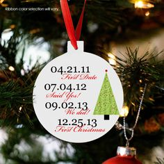 personalized Christmas ornament, couple's first Christmas custom dates Christmas tree ornament