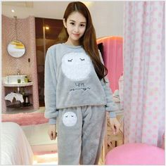 Autumn And Winter Women Pyjamas Sets Thick Warm Coral Velvet Suit Flannel  Long Sleeve Female Cartoon 4cf1d7dc8