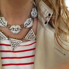 Grace of Stripes & Sequins layering our Bauble Bar x HWTF Warrior Necklace with Lulu Frost lips