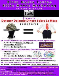 Seminario Gratis Para Aprender Como Promover Su Negocio Sabado Octubre 3, 2015  Para Registrar:  http://www.jvmgr.com/stop-leaving-money/