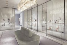 Valentino_Paris Boutique this would make a great closet all glass with beautiful chandelier