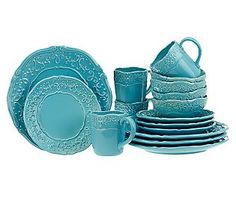 Loving that pop of robin's egg blue Temp-tations Vintage Dinnerware set. Heirloom look without heirloom maintenance!