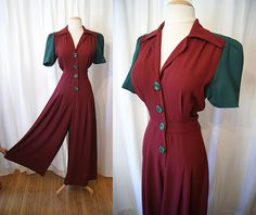 Sassy 1940's style one piece jumpsuit with palazzo by wearitagain, $250.00