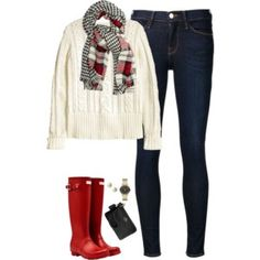 Plaid scarf, cable knit sweater & hunter boots
