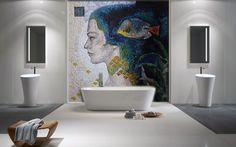 Modern Bathroom Design - Contemporary Bathroom - Minimalism in Colors - Mosaic Wall Art - Mosaic Art Reproduction - Bathroom Decor | #Mozaico