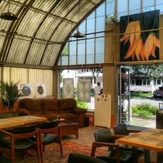 Repurposed greenhouse coffee shop, Rochester NY