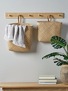 NEW Two Leather & Seagrass Hanging Baskets