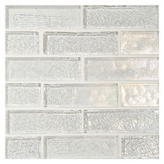 """WATER & SKY GLASS MOSAIC in Diamond - 30% Recycled Content - Iridescent Finish. 1"""" x 3"""" Staggered Brick Mosaic. A special glass tile with a gently rippled surface that resembles pools of water.  Complete Tile Collection MI#: 078-G2-264-447 #GlassMosaic"""