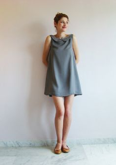 Robe Lola Grise en soie avec col Claudine / Silk Grey Dress with Peter Pan Collar