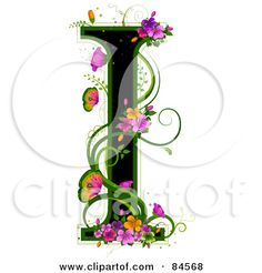 Letter A with Flowers | Print: Black Capital Letter J Outlined In Green, With Colorful Flowers ...