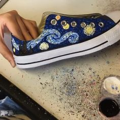 Hand painted Van Gogh Starry Night Low Top Converse trainers made using navy sneakers and acrylic paint … Painted Converse, Painted Sneakers, Painted Jeans, Painted Clothes, Custom Painted Shoes, Hand Painted Shoes, Custom Shoes, Painted Canvas Shoes, Custom Converse