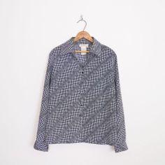 #Vintage #90s #grunge club kid B&W OPTIC #ILLUSION print #OVERSIZED #shirt #blouse top L/XL #ClubKid #OpticalIllusion #Oversize #Ebay #TrashyVintage $28.00