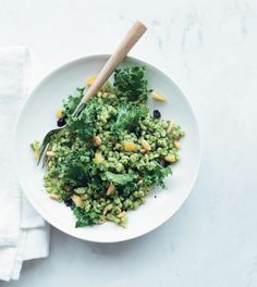 Lemony Barley Salad with Kale Pesto