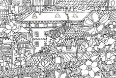 Line art illustration for coloring book and guide about Prague