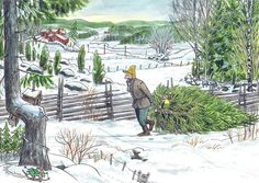 Pettson and Findus bringing their Christmas tree home from the forest