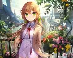 Anime Original  Original (Anime) Anime Girl Long Hair Bow (Clothing) Green Eyes Blonde Flower Shirt Ribbon Blush Building Butterfly Petal Colorful Wallpaper