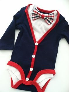 Baby Boy Cardigan Onesie with Coordinating Bow by MissPrissGiftsCo, $32.50