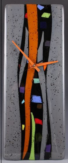 """Colorwaves"" Art Glass Clock - Nina Cambron Studio"