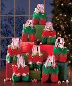 Christmas Pants Gift Bag Dream Loom Bags,Santa Pants Style Candy Bags for Xmas New Year Birthdays Holidays