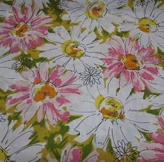 gorgeous flower garden in your bed! Vintage-Mod-Daisy-Floral-Twin-Flat-Sheet-Large-Scale-Pink-Green-60s-70s-Fabric