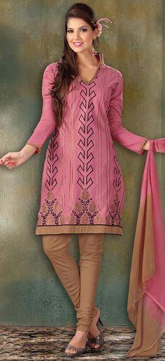 $32.15 Pink Thread Work Cotton Churidar Salwar Suit 23336