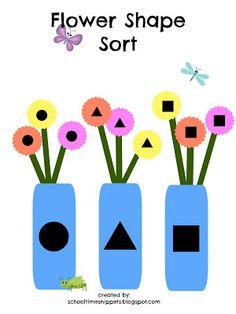 School Time Snippets: Flower Shape Sort {Free Printable}