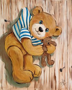 Peinture Ourson Marin suspendu, PEINTURE Ourson Teddy Bear Cartoon, Baby Teddy Bear, Cute Teddy Bears, Pooh Bear, Photo Ours, Art D'ours, Urso Bear, Bear Paintings, Teddy Bear Pictures