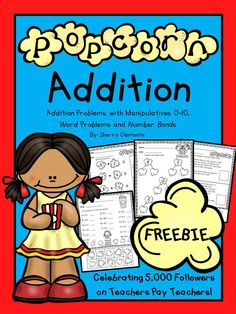 FREE: Popcorn Addition (Addition problems with manipulatives-sums word problems, and number bonds) Math Classroom, Kindergarten Math, Teaching Math, Preschool, Teaching Ideas, Classroom Ideas, Addition Words, Math Addition, Simple Addition