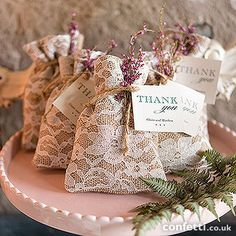 Rustic Chic Burlap and Lace Drawstring Favor Bag