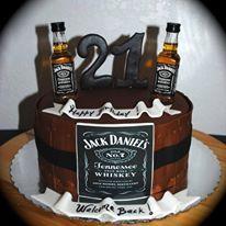 21st Birthday cake for a guy. Jack Daniel's Whiskey Cake  Little Mermaid Desserts Table  www.arlyscakes.com 786-223-2667
