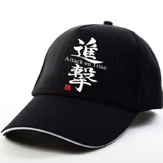 Attack on Titan black pattern caps Unique fashion Popular Street Sunscreen  Adjustable Baseball cap Hip Hop wind men women hat. f8171dea4ef