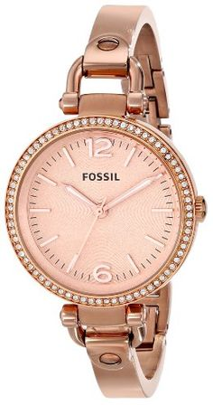 Fossil Women's ES3226 Georgia Analog Display Analog Quartz Rose Gold Watch http://watchmamu.com/